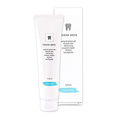 TOOTH NOTE Premium Natural Whitening Toothpaste(AQUAMINT), Teeth Whitening Toothpaste, EWG Green Grade Ingredients, Fluorine/Sugar/Paraben Free