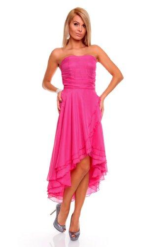 Knielanges Bandeau Kleid Chiffon Ballkleid Abendkleid Cocktailkleid Festkleid M (36) Pink