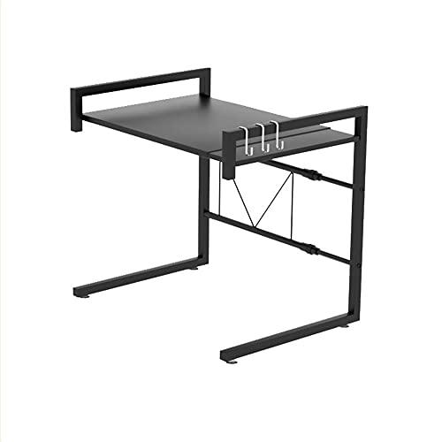 Estantes para microondas, 34 – 60 cm, extensibles, de metal, con 3 ganchos, organizador de cocina, 25 kg de capacidad (negro)