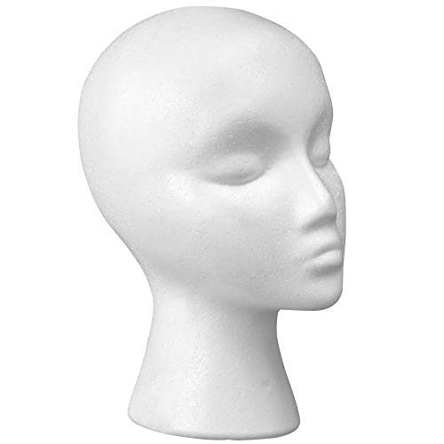"""12"""" Styrofoam Wig Head - Tall Female Foam Mannequin Wig Stand and Holder - Style, Model And Display Hair, Hats and Hairpieces - For Home, Salon and Travel - by Cantor"""