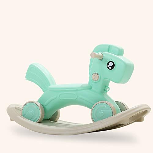 Cheval à bascule LINGZHIGAN Bébé à Double Usage Musique for Enfants Toy Trojan Small Rocking Voiture (Color : Green)