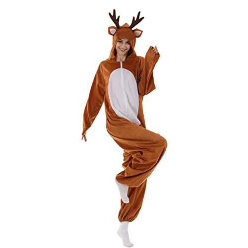 WUHX Adulto Fancy Dress Costumi Renna Natalizia Elfo per Costumi Natalizi Donne Sexy Santa Claus Cosplay Costume Albero Natale Bambini per Il Natale Capodanno Carneval,Reindeer,XS