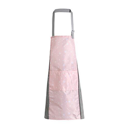 Lushi Tablier de cuisine imperméable réglable avec ceinture de cou pour la maison, le restaurant, l'artisanat, le jardin, le barbecue, l'école, le café, rose, 27.56in * 29.53in