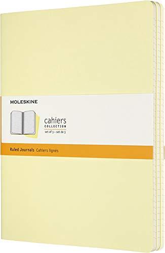 Moleskine - Cahier Journal Cuaderno de Notas, Set de 3 Cuadernos con Páginas, Tapa de Cartón y Cosido de Algodón Visible, Color Amarillo Suave