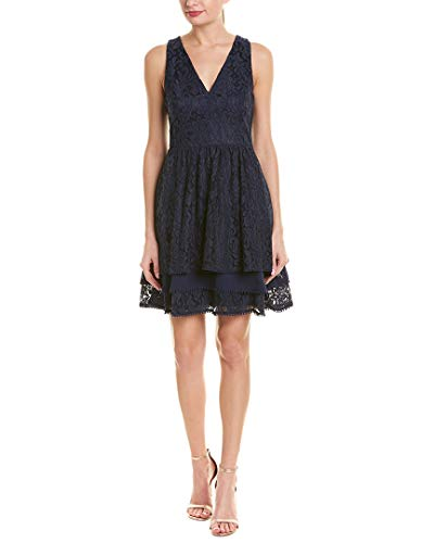 Eliza J Women's Lace Fit and Flare Dress (Regular and Petite), Deep Navy, 8