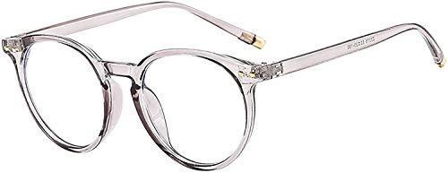 YLXQPB Lentes de filtro de luz azul: gafas de ordenador sin aumento, protección antifatiga, gafas de PC de luz azul, gafas de marco de metal retro, gafas planas coreanas, hombres gris transparente