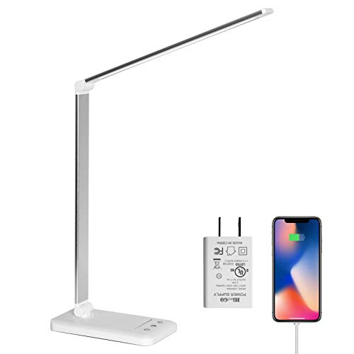 LED Desk Lamp,Eye-Caring Table Lamps,Stepless Dimmable Office Lamp with USB Charging Port,Touch/Memory/Timer Function,25 Brightness Lighting,Foldable Lamp for Reading,Studying,Working,Himigo