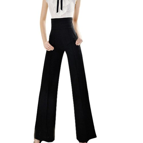 VOBAGA Pantaloni epoca lungo delle donne a vita alta gamba larga svasato Palazzo Pantaloni neri