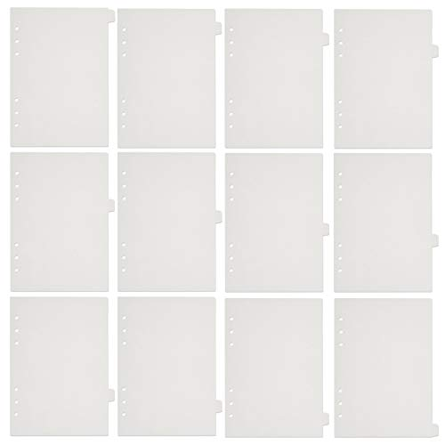 6 Holes Transparent PVC Binder Divider Pages with Tabs Clear Paper Sheet Index Dividers A5 Index Dividers for Notebook Journal Diary Planner Memo Notepad 12 Pcs Per Set