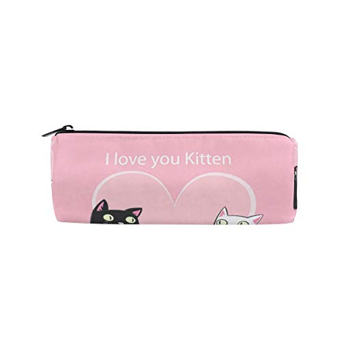 Lawenp Estuche portátil para lápices para niñas, niños y adultos Lovely Cat Creative Student Pen Bag Twill Weave Bucket Pencil Bag, Estuche para bolígrafos para la escuela/oficina (8 x 3 x 3 pulgada