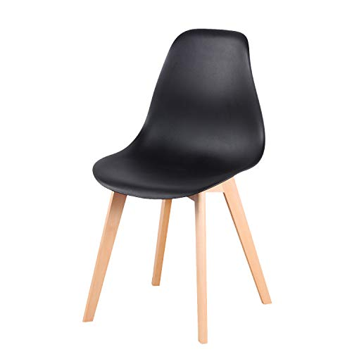 Un conjunto de cuatro sillas, silla de madera maciza de estilo nórdico, adecuada para sala de estar, cocina, oficina y otros lugares. (Negro, 4)