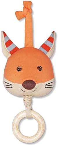 Organic Farm Buddies Frenchy Fox Waggle Toy for Newborns, Infants, Toddlers - Hypoallergenic, 100% Organic Cotton