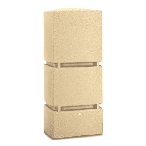 Regentonne eckig Regenwassertank Jumbo 800 Liter sandstein aus UV- und witterungsbeständigem Material. Frostsichere Regenwassertonne bzw. Regenfass Wandtank mit hochwertigen Messinganschlüssen