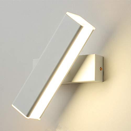 Modern Wandleuchte Innen 6W Wandlampe Warmweiß fast 360° Drehbare Warmweiß Modern Wandbeleuchtung Eisen Wandlicht für Schlafzimmer,Badezimmer,Wohnzimmer (Weiß)