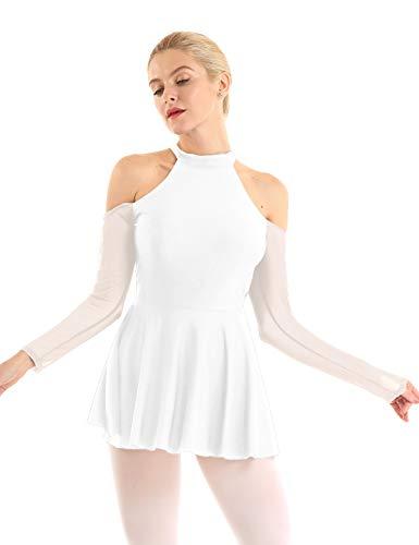 Freebily Vestito Pattinaggio Artistico Ragazza Abito Senza Spalline Vestito Slim Fit da Ballo Latino Samba Rumba Tutu Danza Classica Balletto Body Ginnastica Dancewear Bianco Medium