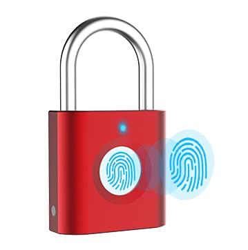 P3 - Lucchetto a impronta digitale ricaricabile tramite USB, per armadietti, borse, golf, armadi, palestra, porte, bagagli, valigie, zaini, bicicletta, cartella, biometrico, colore: rosso