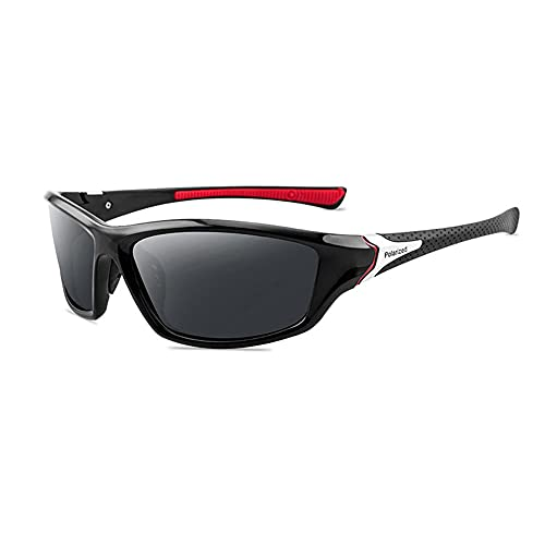 WQZYY&ASDCD Gafas de Sol Moda Unisex Uv400 Gafas De Sol Polarizadas para Conducir Hombres Gafas De Sol Polarizadas De Moda Hombres Gafas-Black_Red