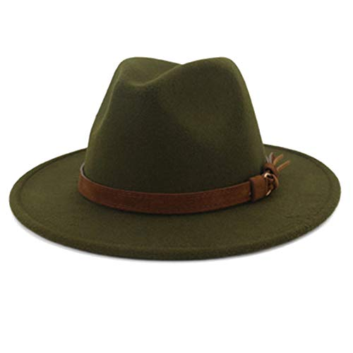Oulensy Fedora Sombrero Con La Cinta De Piel Caballero Señora Elegante Otoño Invierno Amplia Jazz Iglesia Panamá Sombrero Del Casquillo Verde