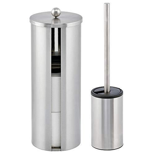 mDesign 2er-Set WC Garnitur – modernes Badzubehör mit Toilettenbürste und Rollenhalter aus gebürstetem Edelstahl – Toilettenpapierhalter für bis zu 3 WC-Papierrollen – mattsilberfarben