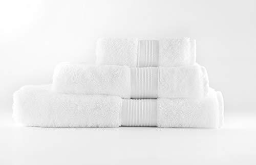 SPUM Toallas Premium 100% algodón, Tacto Ultra Suave, sin Productos químicos, lujosas y absorbentes de Secado rápido, 600 gr/m2. Juego de 3 Unidades (140x70 – 100x50 – 50x30 cm) (Blanco Ártico) ⭐