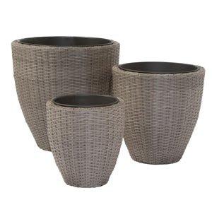 Siena Garden Lando 834256 3 pièces Ensemble de pot de fleurs circulaire Plastique tissé Mocha-brushed