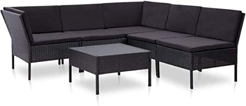 Woodtree September 6 Pieces Garden Furniture and Cushions Synthetic Rattan Dining Tables and Chairs Set Black Exterior Color: Brown (Color : Negro)