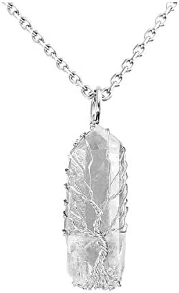 VadiForest Tree of Life Necklace Natural Raw Clear Rock Crystal Quartz Pendant Silvery Wire product image