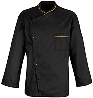 KODENIPR CLUB® Mens Womens Single Breasted Crossneck Black Chef Coat Mustard Piping Contrast,Snap Buttons,Poly/Cotton,Size...