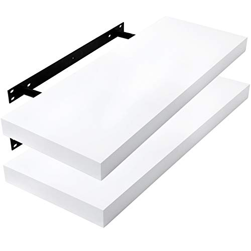 E-starain Juego de 2 Estante Balda Flotantes Pared Madera 30cm Estanteria Pared Blanca Libreria Repisas Invisibles Decorativo CD para Salon Dormitorio Cocina