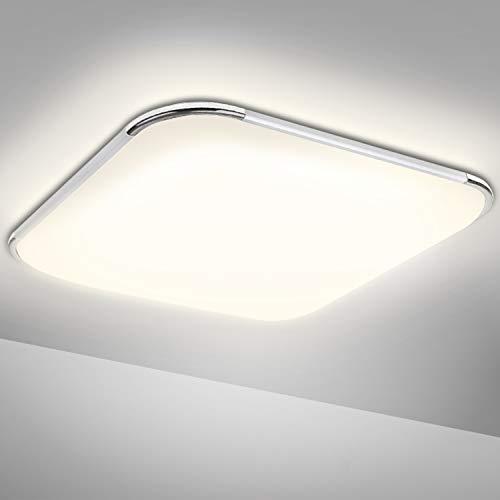 LED Deckenleuchte 12W, VINGO IP44 Wasserdicht Deckenlampe Badlampe, Flimmerfrei LED Leuchte Wannenleuchte für Wohnzimmer Schlafzimmer Balkon Küche Flur Badezimmer Neutralweiß 4000K [Energieklasse A++]