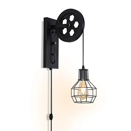 Apliques de pared industriales Base E27 con enchufe para lámpara de pared Interruptor de atenuación Lámpara de pared de estilo vintage
