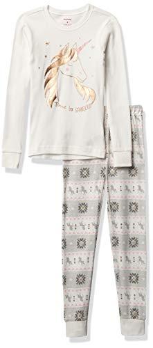 Petit Lem Girl 2Pc Pj Set: L/S Top + Pant Knit, 101 Off White, 5
