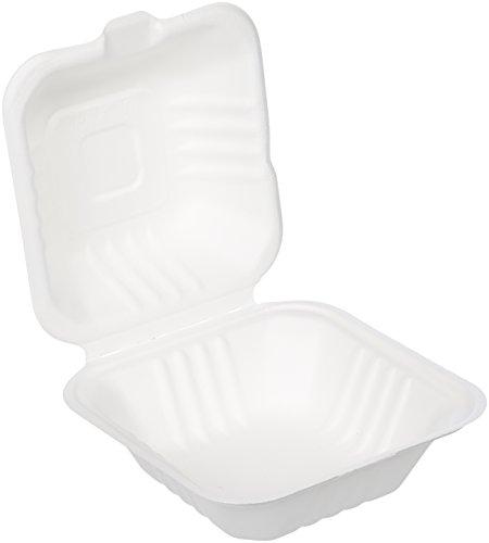 Amazon Basics - Vaschetta usa e getta con coperchio, per asporto, compostabile, ecologica e biodegradabile, 15 x 15 x 8 cm, confezione da 125