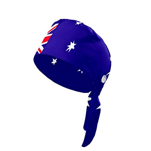 N\O Upgrade Working Cap with Button Commonwealth of Australia Flag Hair Covers for Woman Adjustable Tie Back Sweatband Cotton Fabric Headband Breathable Working Hat