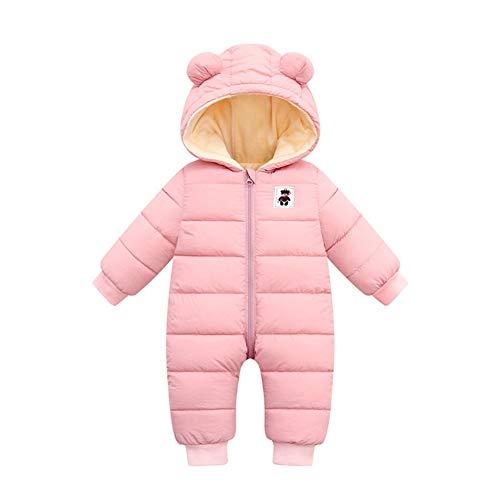 Miyanuby Baby Jungen Mädchen Winter Mantel Schneeanzug Reißverschluss Langarm Kapuze Mantel Strampler Jacke Kleidung