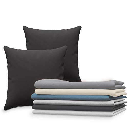 Dreamzie Set de 2 x Taie Oreiller 65x65 cm, Noir Jersey Coton, 100% Coton - Taie Oreiller 65 x 65 - Housse de Coussin pour Le Lit - Protège Oreiller - Résistant et Hypoallergénique