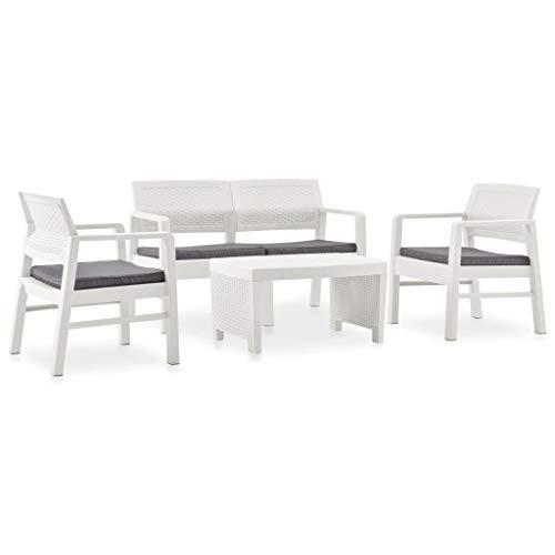 Benkeg Set Muebles de Jardín 4 Piezas y Cojines Plástico Blanco, Conjunto de Comedor de Plástico Conjunto de Muebles de Jardín Conjunto de Sofás de Jardín de Ratán Comedor Jardin Plástico
