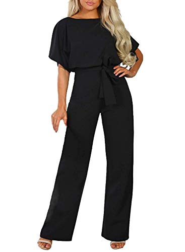 Happy Sailed Women Casual Loose Short Sleeve Belted Wide Leg Pant Romper Jumpsuits Small Black