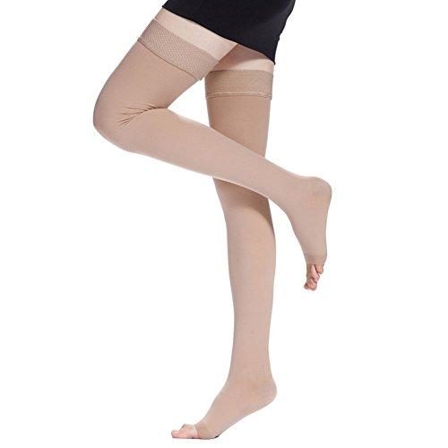 iKulilky Damen 20-30mmHg Medizinische Kompressionsstrümpfe Oberschenkel offene Zehe über Kompressionssocken Krampfadern Schwangerschaft Krankenpflege Ödembehandlung Stützstrumpfhose Kniestrumpfe