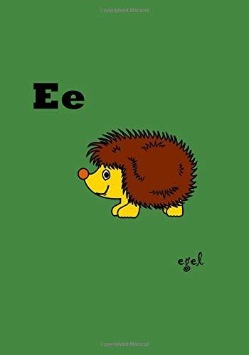 Egel: Hedgehog, retro vintage alfabet, notitieboekje, dagboek, compositieboek, 100 gelinieerde pagina's 7 x 10 inch / 17,78 x 25,4 cm, Retro vintage ... composition book diary 100 pages lined