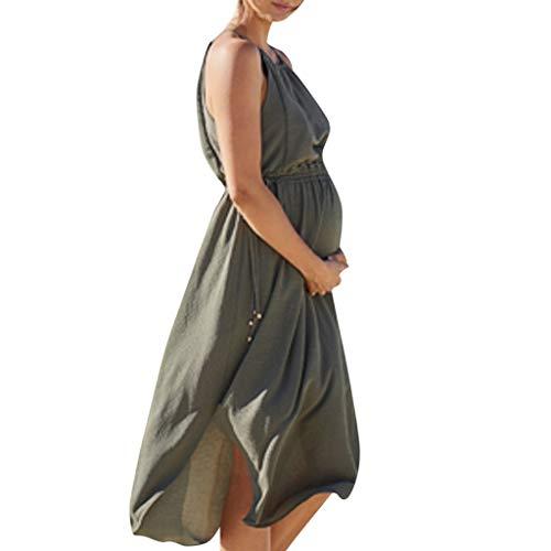 luoluoluo Schwangerschaft Kleider Damen Sommer Stillkleid Jumper Kleid Trägerkleid Einfarbig Abendkleid Elegant Frauen Umstandskleid Locker Ferien Minikleid Hochzeit (Grün, S)