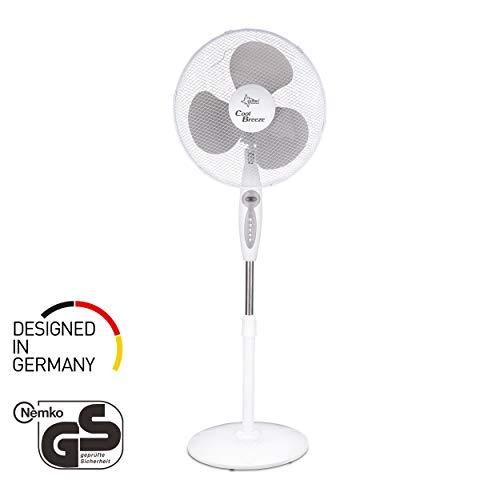 Ventilator mit Fernbedienung, Timer | Stand Standventilator CoolBreeze 4000 | Leise 40 cm Durchmesser, 50 Watt | Fan Windmaschine Weiss | für Bett, Schlafzimmer, Büro, Wohnung, Terrasse | von SUNTEC