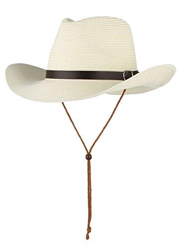 EOZY Kinder Stroh Cowboyhut Sommer Sonnenhut Strohhut Fasching Westernhut Weiß