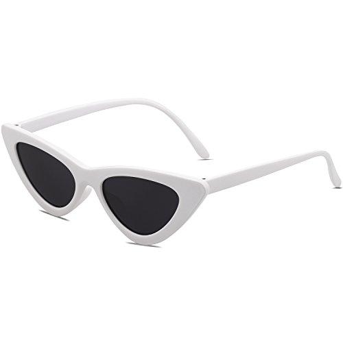 SOJOS Occhiali di Protezione Occhiali da Sole da Donna Occhio di Gatto Retro Vintage Stile SJ2044 con Bianco Telaio/Grigio Lente