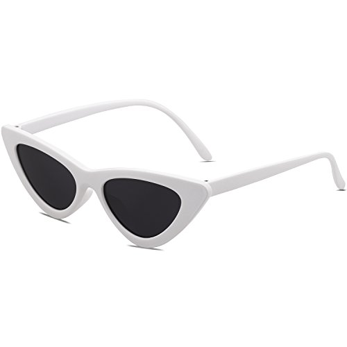SOJOS Katzenauge Rahmen Mode UV-Schutz Damen Sonnebrille Cat Eye SJ2044 mit Weiß Rahmen/Grau Linse