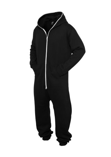 URBAN CLASSICS Sweat Jumpsuit, black/white - 2