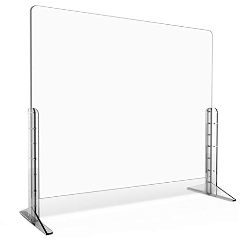 Sneeze Guard for Desk, Anti-Explosion Plexiglass Desk Shield Barrier Adjustable Sneeze Guard Shield for [Counter] [Desk] [Countertops], Clear [32'W x 24'H]