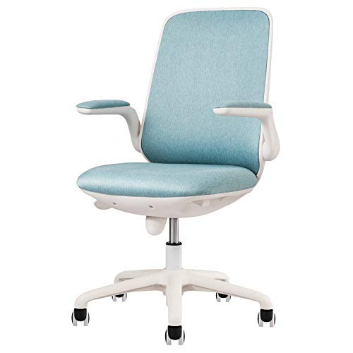 OVIOS Office Chair,Water Resistant Fabric Desk Chair for Dresser and Home Office,Modern,Comfortble,Nice Task Chair for Computer Desk. (White-Light Blue)