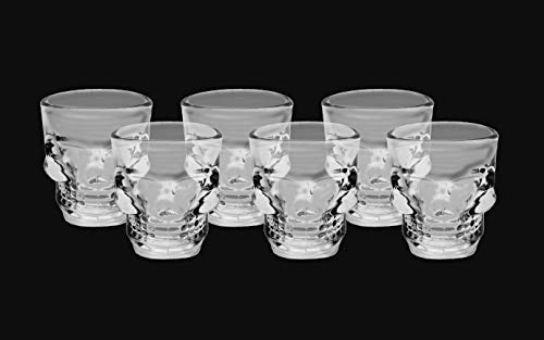 HostelNovo - Pack de 6 chupitos calavera – Elaborados en vidrio resistente...