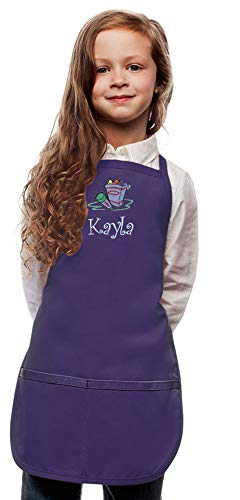My Little Doc Personalized Purple Kids Art Smock Crayons Embroidery Design, XL